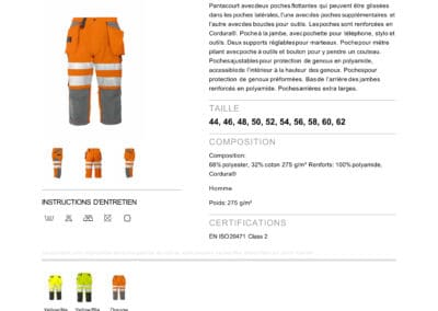 ProJob 6510 PANTACOURT AVEC RENFORTS EN ISO 20471 CLASSE 2